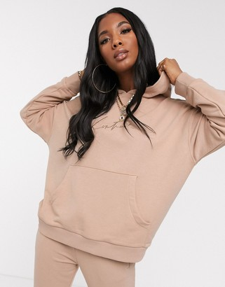 Couture The Club oversized hooded motif sweat top in tan