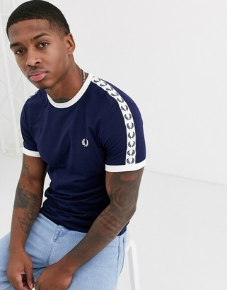 Fred Perry taped ringer t-shirt in navy