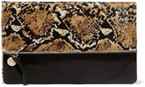 Clare Vivier Printed fold-over calf hair clutch