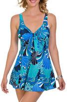 Penbrooke Plus Shell A Go Go One-Piece Bow Front Swim Dress