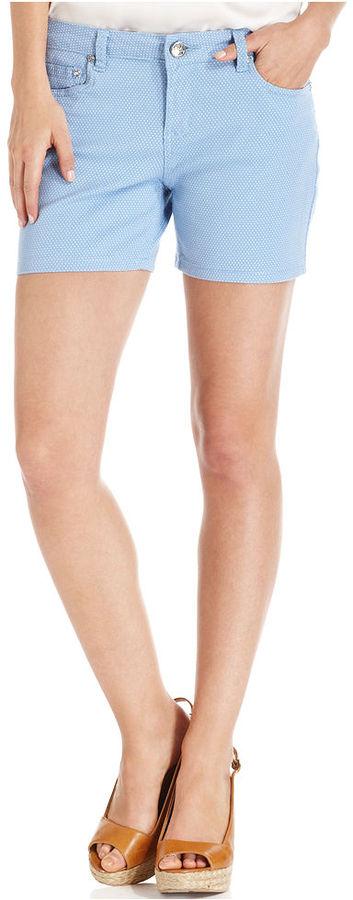 Earl Jeans Petite Shorts, Denim Polka-Dot