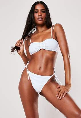 Missguided White Tie Bow Front Strappy Bandeau Bikini Top
