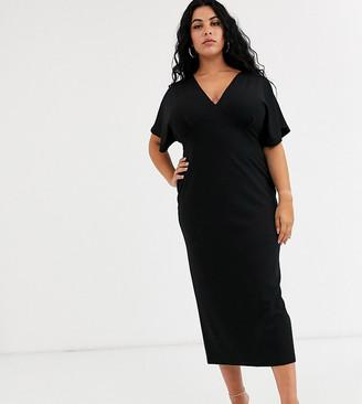 Asos DESIGN Curve exclusive midi batwing dress in ponte-Black