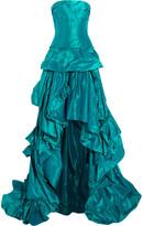 Oscar de la Renta Strapless ruffled silk-tafetta gown