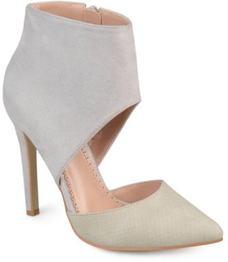 Brinley Co. Women's Faux Suede Faux Leather Ankle Cuff Two-tone High Heels