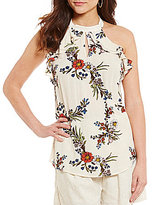 Blu Pepper Floral-Print Open-Back High Neck Keyhole Ruffle Top