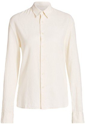 Solid And Striped Cotton & Linen Button-Down Shirt