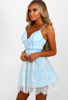 Pink Boutique Watch Me Wow Baby Blue Lace Bustier Skater Dress