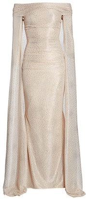 Talbot Runhof Starburst Metallic Off-The-Shoulder Cape Gown