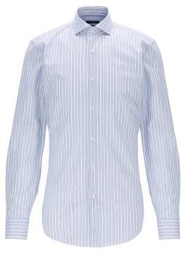 Striped slim-fit shirt in Italian cotton with linen