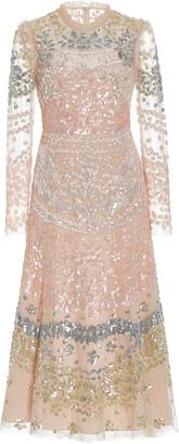 Needle & Thread Angeline Sequined Tulle Midi Dress