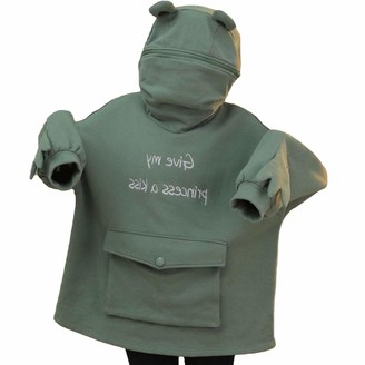 Femereina Frog Hoodie Womens Cute Animal Shape Pullover Letter Print Oversized Zipper Hooded Sweatshirt with Pocket (Green S)
