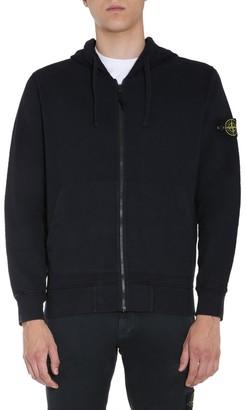 Stone Island Logo Patch Hooded Zip Sweatshirt
