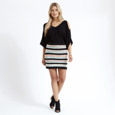Apricot Blue Coral & Black Crochet Multistripe Mini Skirt