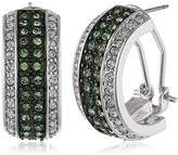Jacques Lemans Women's Creole Earrings Rhodium-Plated Brass and White Crystal 229964 / 00 / 00