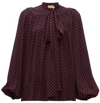 No.21 No. 21 - Polka Dot-print Pussy-bow Blouse - Womens - Black Pink