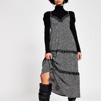 River Island Black ditsy print cami midi smock dress