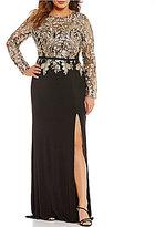 Terani Couture Plus Embroidered Metallic Gown