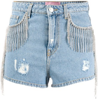 Chiara Ferragni Distressed Fringed Denim Shorts