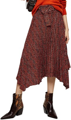Topshop Tiny Leopard Pleated Belted Midi Skirt