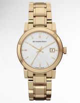 BURBERRY Ladies' Gold-Tone Watch with Silver-Tone Check Dial