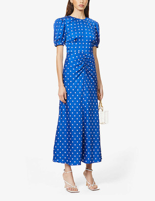 Self-Portrait Polka dot-print satin midi dress