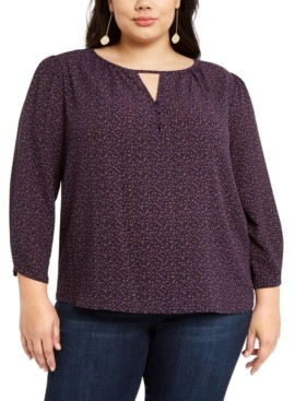 1 STATE 1.State 1.state Trendy Plus Size Printed Keyhole Top