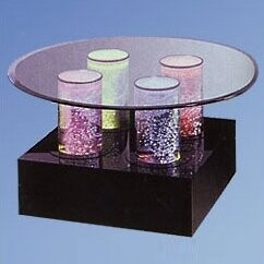Midwest Tropical Fountain Aqua Coffee Table Shape: Round, Base Color: Black Acrylic, Lights: 4 LED Lights, Wheel: Color Wheel