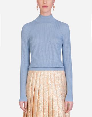Dolce & Gabbana Silk Lace-Stitch Sweater