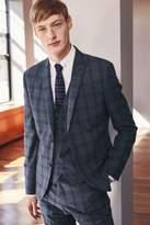Mens Next Blue Check Skinny Fit Suit: Jacket - Blue
