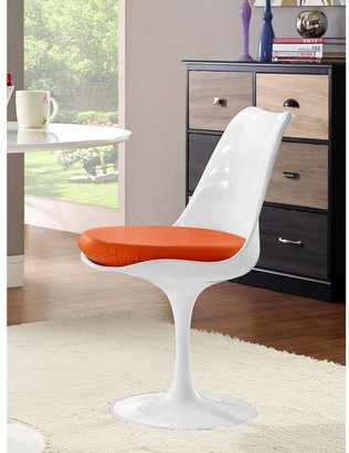 Bsd National Supplies Venice Tulip Style Swivel Dining Chair with Orange Vinyl Cushioned Seat