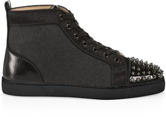 Christian Louboutin Louis Spikes Orlato Flat Velvet High-Top Sneakers