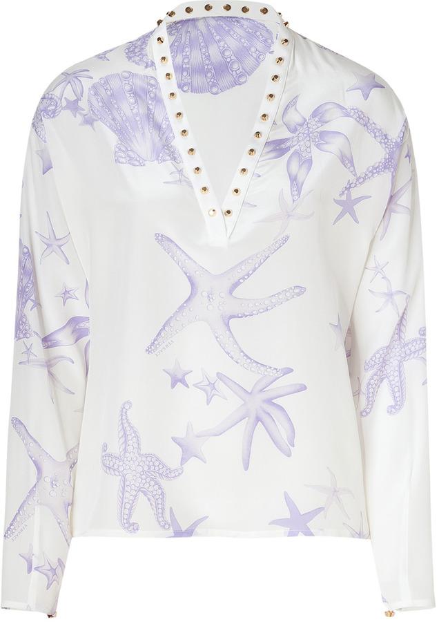 Versace White and Amethyst Seaside Printed Silk Top