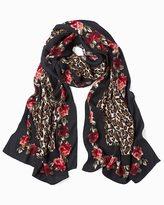 White House Black Market Leopard & Floral Print Oblong Scarf