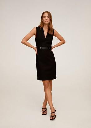 MANGO Belted pencil dress black - 6 - Women