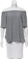 Tibi Off-The-Shoulder Gingham Top