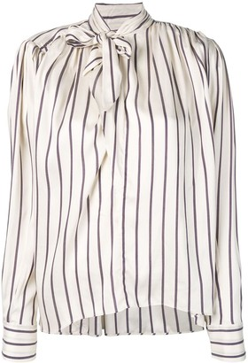 Isabel Marant Pussy Bow Striped Blouse