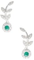 Rina Limor Fine Jewelry 18K White Gold, Emerald & 0.42 Total Ct. Diamond Flower Ear Climbers