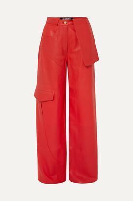 Jacquemus Le Pantalon De Nimes Leather Wide-leg Pants - Red