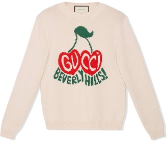 Gucci Cherries Logo Intarsia Jumper