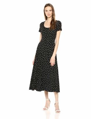 Three Dots Women's CS5872 Painted DOT Jersey Scoop Neck S/S Dress