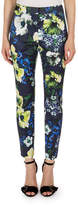 Erdem Sidney Floral-Print Pants, Navy/Yellow