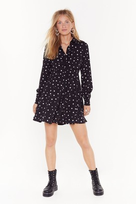 Nasty Gal Womens Dot Even Invited Relaxed Mini Dress - Black - 4