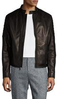 Elie Tahari Burnished Leather Biker Cross Jacket