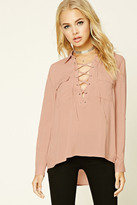 Forever 21 FOREVER 21+ Lace-Up Shirt