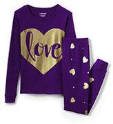Lands' End Girls Snug Fit Heart Graphic PJ Set-Gold Heart