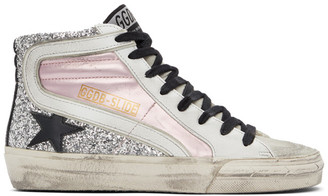 Golden Goose Pink and Silver Slide Sneakers