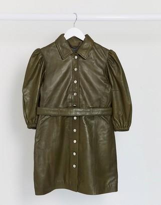 Muu Baa Muubaa leather belted mini dress in sage green