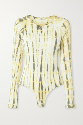 AGOLDE Leila Ribbed Tie-dyed Stretch-jersey Bodysuit - Yellow
