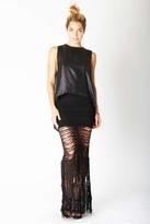 Nightcap Clothing Shredded Lace Skirt in Black